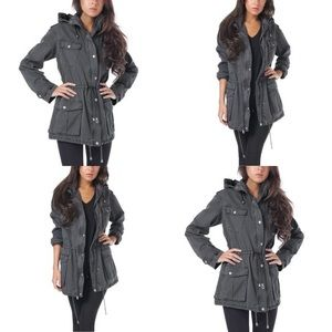 Grey Cargo Long Jacket